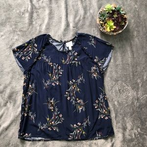 St Johns Bay navy blue floral blouse size XL